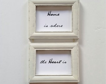 Home is Where the Heart Is Framed Quote, Ivory Rustic Two Frame Set