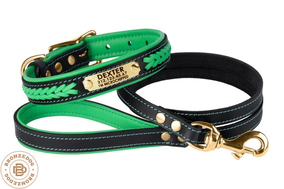 Dog Collar Leash Set Green Leather Personalized Custom Brass Hardware Soft Padded