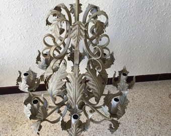 Beautiful grey patinated wrought iron chandelier