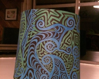 Ocean Breeze Lamp Shade| Hand Painted Lamp Shade| Trippy Home Decor|Glow in the Dark| TheSkwurilNest
