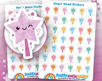 42 Cute Magic Wand/Star Stickers, Filofax, Erin Condren, Happy Planner,  Kawaii, Cute Sticker, UK