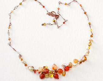 Asymmetrical Copper Wire And Gemstone Necklace, Featuring, Citrine, Carnelian, Agate And Freshwater Pearls  FREE P+P*