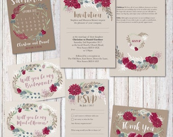Personalised Autumn wedding invites, wedding invitations, wedding stationery, personalised wedding stationery, rustic wedding