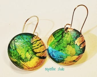 Jewellery, earrings, bright green and yellow, women's, Sterling ear wires, English pennies on fire, painted and sealed with alcohol ink.