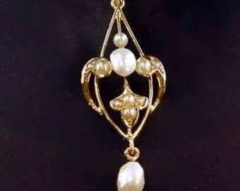 Intricate 14K Antique Art Nouveau Yellow Gold Natural Pearl Lavalier Pendant