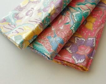 Batik Fabric, Floral Batik, Indonesian Batik, Batik Sarong, Batik Shawl, River Garden, Flower, Cotton, Yellow, Pink or Blue, 2 metre long