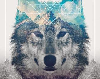 Wolf design greeting card