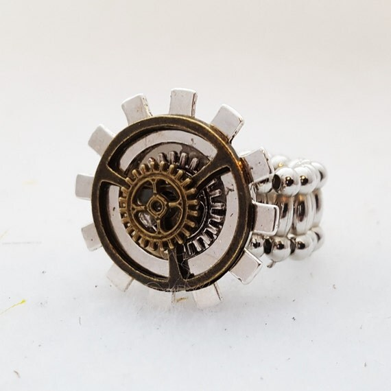 Steampunk Ring, Steampunk Jewelry, Bicycle Gears Charms, Metal Gears Jewelry, Cyclist Biker Ring, Motivational Bike Gifts, Team Coach Gift