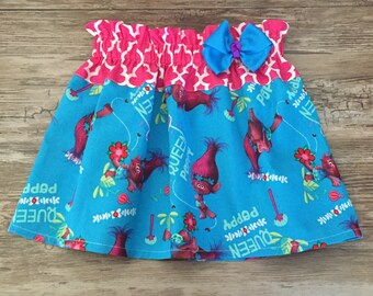 Trolls Girl Skirt, Poppy Troll Skirt, Poppy skirt, Trolls Skirt