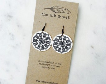 Snowflake Mandala / Wearable Art Earrings / Shrink Plastic