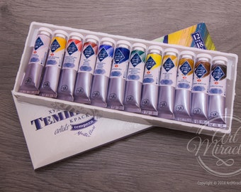 Tempera Paint Set MASTER CLASS Artists colours 12x18 ml tubes Professional 12 colors 18ml Russian Nevskaya Palitra for Tempera Painting Art