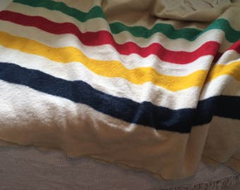 vintage, Hudson's bay blanket, made in England, with original trapper point Indian chief logo, collectible, rare