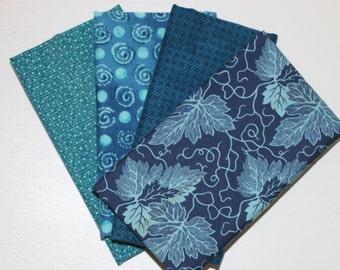 SALE - 4 Fat Quarters - (Blue) - Cotton fabric