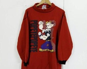 Vintage POPEYE And The Sailor Man Sweatshirt Medium Muscle Man Funny Cartoon Popeye Spinach Jumper Crewneck Popeye Sweaters Size M