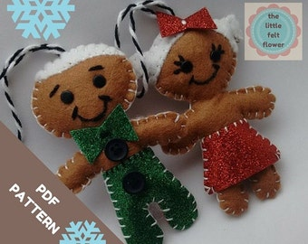 Felt Pattern-Gingerbread Man pattern Mr & Mrs-Felt Chistmas pattern- Felt Gingerbread Ornament - Felt PDF Pattern-DIY gift-Decor Pattern