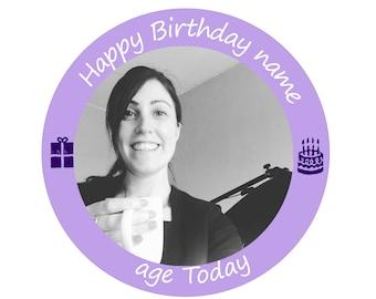Photo Birthday,edible cupcake topper,cake topper, photo cake topper,rice paper topper,edible,edible cake,rice paper cake,rice paper cupcake,