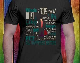 Mary Poppins Quote Winds in east, mist coming in T-shirt For Men Women Tee S-3XL size