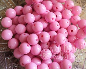 12mm Pink Acrylic Beads 30pc