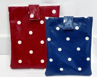 Oilcloth Kindle Cover/ eReader Case - Navy Blue or Red with White Polka Dots - Gift for her - can be customised to fit any tablet/ e-reader