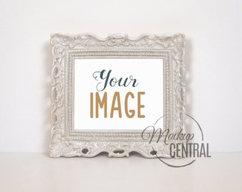 Empty Blank Frame Stock Photography - White Background with Antique Frame - Product Mockup - 2 Sizes - Photo JPG Mock Up - Digital Download