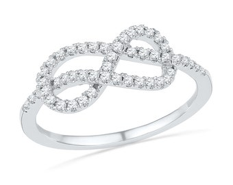 1/4 CT. T.W. Diamond Ring, Sterling Silver Promise Ring or White Gold Infinity Band