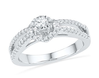 1/2 CT. T.W. Split Shank Halo Engagement Ring in White Gold or Sterling Silver, Diamond Halo Ring, Traditional Engagement Ring