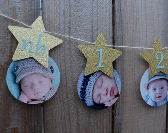 Twinkle Twinkle Little Star Boy First Birthday Banner Star One Year Banner Blue and Gold Star 12 Month Photo Banner First Year Photo Banner