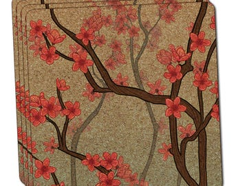 Cheery Cherry Blossoms Thin Cork Coaster Set Of 4