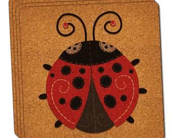 Cute Ladybug Thin Cork Coaster Set Of 4