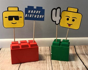 Building block Centerpieces (set of 4) girl and boy colors available