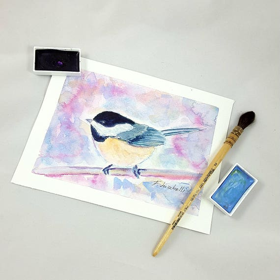 Little bird on the branch, original watercolor painting by Francesca Licchelli, hanging picture, present for babies birth, nursery decore.