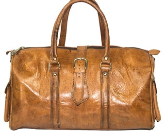80's Vintage Style Leather Voyager Holdall