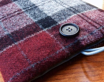 iPad Pro 9.7, iPad Air, iPad Air 2 case cover, British wool tweed, red and grey check plaid