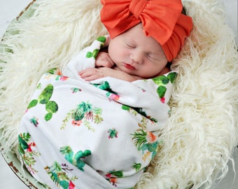 Cactus swaddle, baby blanket, car seat cover, nursing cover, or burp cloth, baby wrap, newborn take home swaddle, cactus blanket, flowers