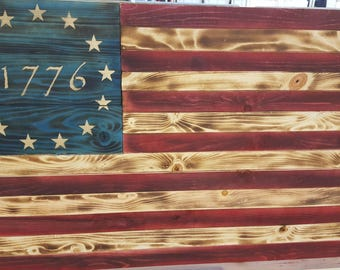Rustic Reclaimed Pallet Wood Flag Wall Hanging