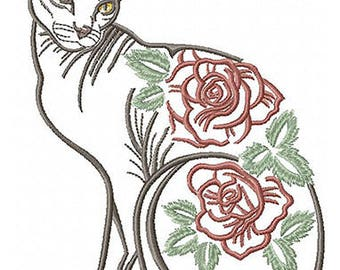 AC 035 Cat sphinx with flowers, 5*7, 6*8 - Machine Embroidery Design