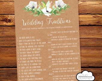 Wedding Traditions / Why do we do that? / Wedding Tradition Quiz / Bridal Shower Game / Wedding Shower Game / Printable
