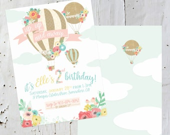 Hot Air Balloon Invitation - Pastels