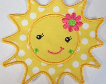 Sunshine Applique Sun - Iron On or Sew On Applique - Fabric Embroidered Patch - Quick Ship in 3 Business Days