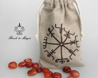Rune bag. Embroidery. Vegvisir. Gift for viking.  Runic compass. Divination tools. Runes casting. Spirituality. Asatru. Rune pouch. Odin