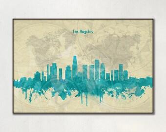 Los Angeles skyline, Los Angeles, Canvas, Print, Travel, Art, Home Decor, Painting, Vintage, Skyline, City prints