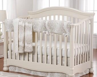 Tristan (Taupe) Bumperless 4 pc. Set | Bumperless Crib Bedding | Gender Neutral Baby Bedding