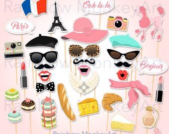 Paris Printable Photo Booth Props - Paris Photobooth Props - Paris Bridal Shower - Paris Bachelorette - Paris Birthday Photo Booth Props