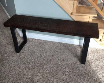 Industrial Sleek Bench. Reclaimed Wood Bench. Entry Bench. Mud Room Bench. Rustic Bench. Custom Bench. Dining Bench.