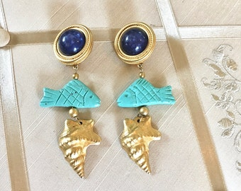 Vintage 80s Statement Earrings in Nautical Theme with Dangling Fish and Shell