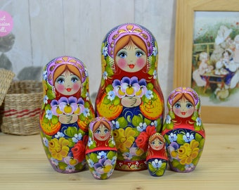 Nesting dolls, Gift for mother, Handmade matryoshka, Russian art, Gift for woman, Wooden hand painted stacking dolls, handcrafted babushka