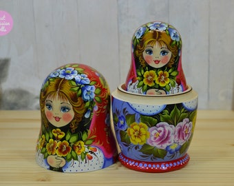 Russian doll, Matryoshka, Hand painted nesting dolls in red and purple with yellow flowers, Gift for woman, Wooden babushka, Folk art