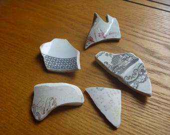 sea pottery, 5 Scottish sea pottery shards, brown and patterned