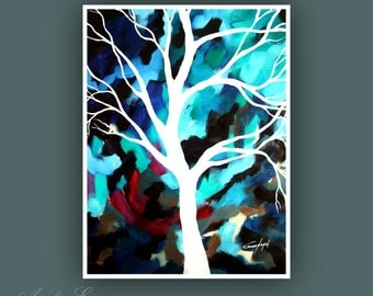 "Original Painting, Contemporary art, Tree Painting, Modern Art, Wall Art, Abstract Painting on Paper, 18""x24"" Painting"