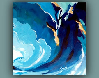 "SALE, Original Painting, Contemporary Art, Abstract Painting, Wave Painting, Square Painting, Acrylic on Canvas, 12""x12"" Ready to Hang Art"